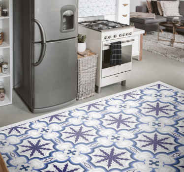 Floral Beija vintage vinyl rug suitable for kitchen floor space, bedroom and other areas in a house. Available in any size, original and easy to clean