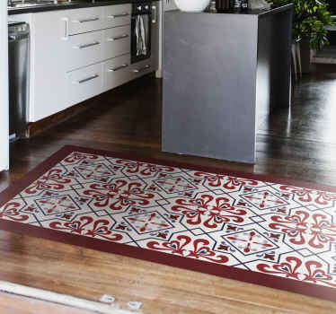 You would be bringing  a touch of an all time classic beauty on your floor space with this elegant red and blue beija royal tile pattern floor mat.