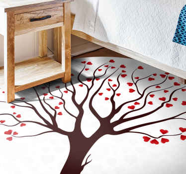 Teen vinyl rug with design of a large tree with red heart-shaped red leaves on a white background, ideal for you to have a romantic atmosphere at home