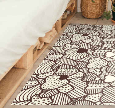 Rectangular rug with a pattern of many hearts with texture in brown color and white background, ideal for you to decorate your house.