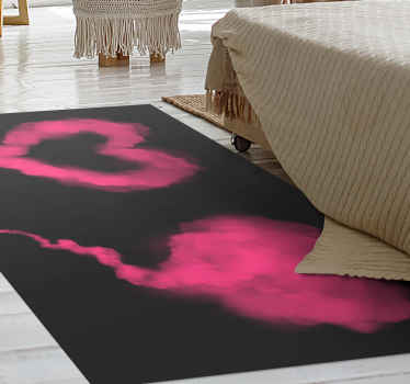 Rechthoekig vinyl tapijt met een prachtig design van een fuchsia hart gemaakt van rook met een zwarte achtergrond. Bestel hem nu!