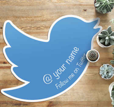 Personalized follow me on Twitter mat to decorate your business space or shop space. It is made of quality vinyl. highly durable  does not fade.