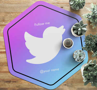 Custom Twitter Follow personalized mat - Our social media vinyl carpet offers you with all media design for your business.