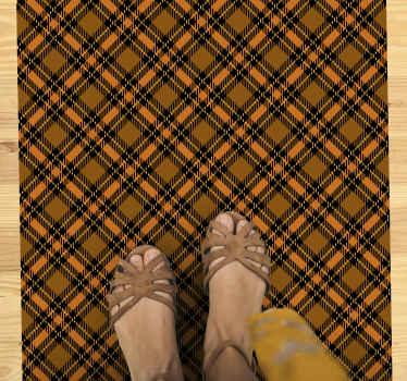 Da color a tu sala de estar con esta increíble alfombra de sala de estar con diseño de 'tartán negro y naranja'. ¡Compre este fantástico diseño hoy!