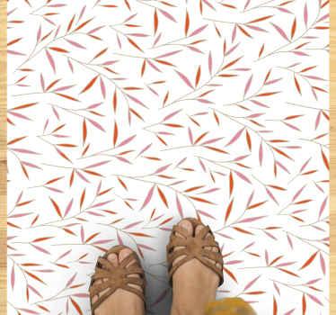 Natuurmat met chinees bosmotief met witte achtergrond en oranje illustratie, perfect voor posities in u woonkamer, eetkamer of slaapkamer