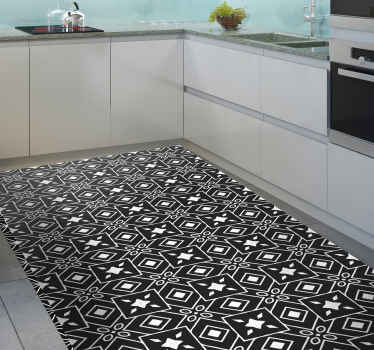 Original vinyl rug with black and white tile design that will give a super classic and elegant touch to your kitchen decor.