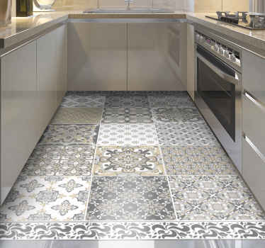 Vintage vinyl flooring with vintage tile design with classic style to maintain an elegant, classic and exclusive atmosphere in your kitchen or house.