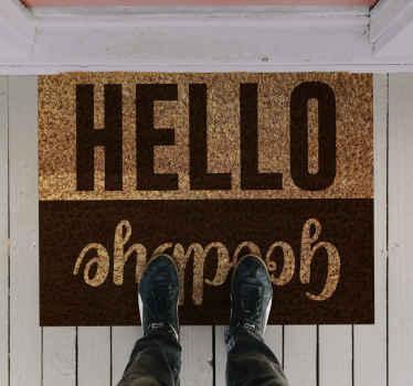 """Alfombra vinilo recibidor con texto """"hola y adiós"""" muy útil para recibir a todos y despedirse de una manera muy agradable ¡Envío exprés!"""
