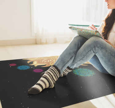 красочный виниловый коврик с изображением галактики с дизайном солнечной системы, все это на темном и звездном фоне, идеально подходит для вас.