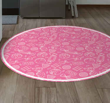 This vintage vinyl rug is full of different kinds of sweets in white colour on a bright pink background. Circular shape will be perfect in any room!