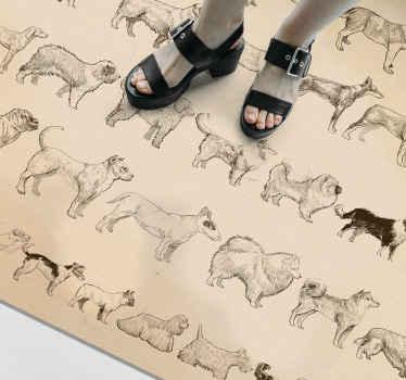 Farklı köpek türlerinin tasarımı ile basılmış bej renkli vinil zemin halısı. Köpek severler için eğlenceli ve ilginç köpek hayvan paspas.