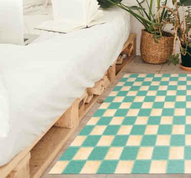 Tappeto rettangolare in vinile con l'illustrazione di quadrati bianchi e blu, perfetto per decorare la camera da letto, soggiorno o qualsiasi spazio