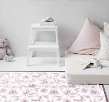 Vinyl carpet with elegant design, illustration of many flowers and leaves outlined with gray color and white background, perfect for you.