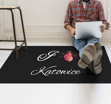 """Jag älskar katowice anpassad vinylmatta. En rik svart ton bakgrundsmatta med """"jag älskar katowice"""" skräddarsydd på den. Lätt att tvätta, rengöra och moppa."""