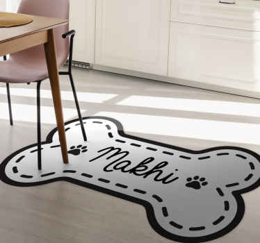 Take a look at this cute personalised vinyl rug shaped like a large bone with the name of your pet on it in cream and black colours. Choose the size!