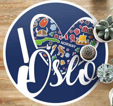 """Alfombra vinilo nórdica con el texto """"I love Oslo"""" con elementos típicos del folclore de Noruega. Elige tus medidas ¡Envío exprés a domicilio!"""