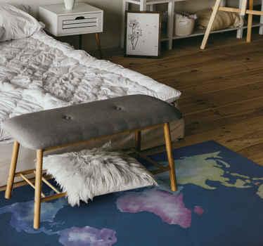 Wereldkaart vinyl tapijt met de illustratie van een wereldkaart ontworpen op een artistieke manier met blauwe achtergrond. Bestel vandaag nog!