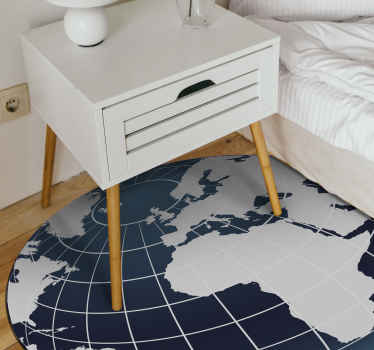An irregular shape vinyl carpet modeled as world globe map. This can be decorated in the home, office, space and other places.