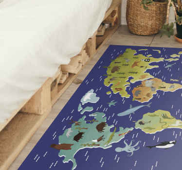 Fauna world map rug - This can be on the bedroom or playroom of kids, a nice way for kids to learn about animals related to various continents.