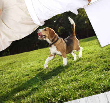 This particular design of an animal vinyl rug is a picture of a running puppy trying to reach for the clean, white laundry on a green grass. Must buy!