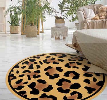 Covor clasic din vinil cu piele de leopard - design de covor foarte minunat pentru a instala o impresie de animal pe un spațiu. Este ușor de aplicat.