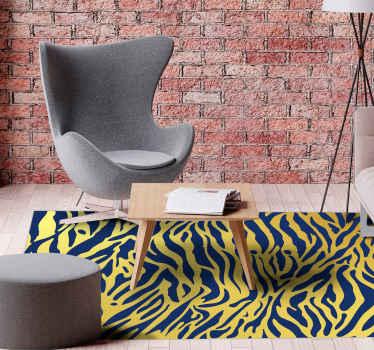 Alfombra vinilo animal print de cebra dorada y azul para decorar y cambiar la apariencia de cualquier estancia ¡Envío exprés!