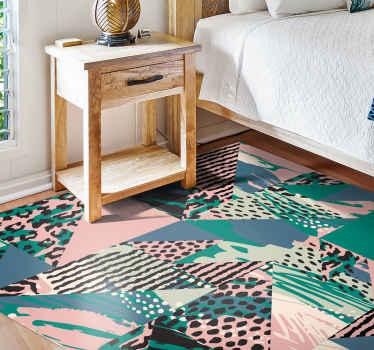 Alfombra vinilo animal print de azulejos de leopardo étnico para resaltar la apariencia en cualquier lugar ¡Envío exprés!