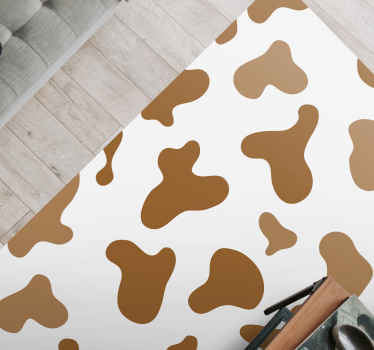 Dit specifieke ontwerp van een vinyl vloerkleed van dieren is geïnspireerd op een koeienpatroon in lichtbruine kleur met witte achtergrond. Koop nu!
