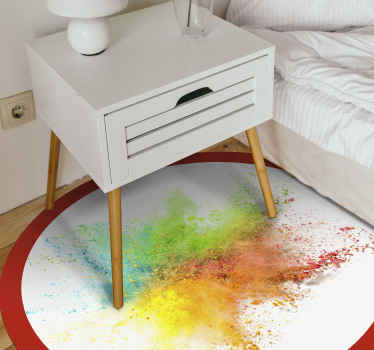 All of your friends and family will be so jealous of your brand new piece of decor with this perfect splash color vinyl rug product! Buy now!