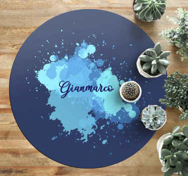 Round-tip vinyl carpet with blue splash design that can be placed on any part of a house. Suitable for indoor and outdoor space.