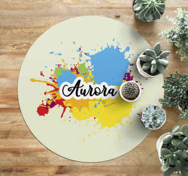 This personalised vinyl rug is a circular shape in cream colour with a splash of bright colours and a chosen name in the middle! Must buy!