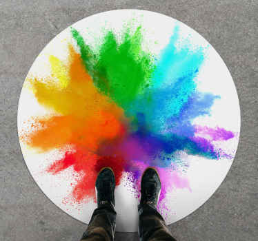 This modern vinyl rug is circular shape in white with a big explosion of green, blue, purple, pink, red, orange and yellow in the middle. Must buy!