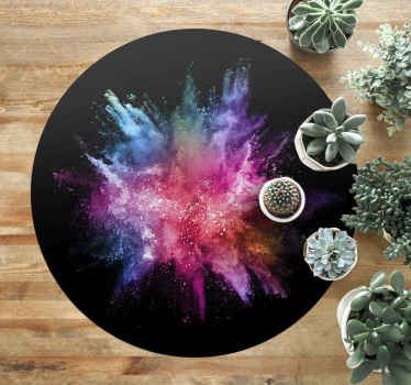 This modern vinyl rug is a circular black design with an explosion of colours in the middle. It can be adjusted in sizes and home delivered!