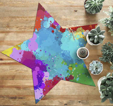 This specific design of a modern vinyl rug shaped like a star is full of splashes of bright colour to brighten up any dull room. Choose the size!