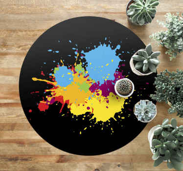 The design of this specific teens vinyl rug is a black background in a circular shape with a splash of colours in the middle. Home delivery available!