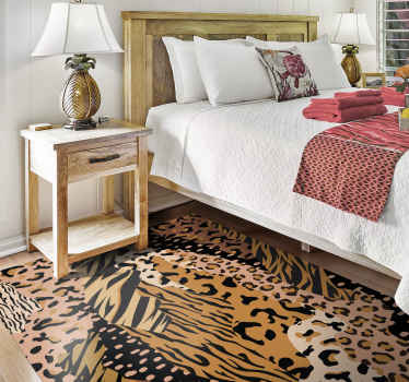 Change the look on your space with our  animal print floor vinyl rug. It is colorful and would present an amazing touch on a space.