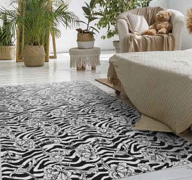 Alfombra vinilo animal print de cebra en blanco y negro de alta calidad con diseño de flores: se adapta a cualquier estancia ¡Envío exprés!