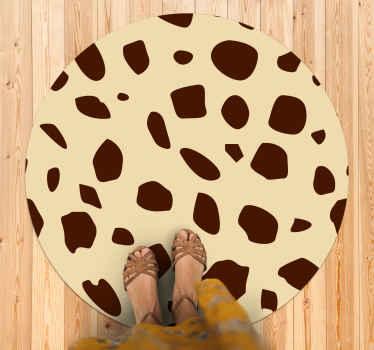 Alfombra vinilo redonda con estampado de animales con manchas de jirafa: puede ser ideal para la entrada y cualquier otra estancia ¡Envío exprés!
