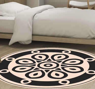 Circular minimalistic shapes bedroom rug - A lovely carpet to add elegance on any space. It design consist of ornamental shapes on round surface.
