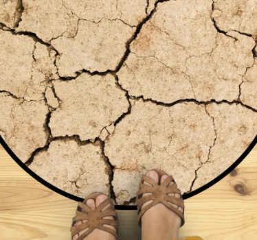 Alfombra vinilo textura que presenta la imagen de un suelo desértico con grandes grietas. ¡Regístrese para obtener un 10% de descuento! ¡Envío exprés!