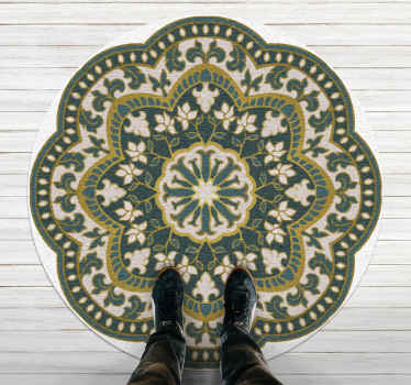 This vintage vinyl rug is a large mandala shape in white, green and yellow colours creating a beautiful and original pattern, with a woven effect!