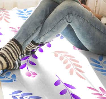 Ten dywan winylowy w kwiaty jest oparty na białym tle z kolorowymi łodygami w kolorze fioletowym, niebieskim, żółtym i różowym. Kup dziś!