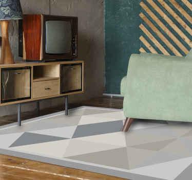 Bekijk dit moderne vinyl vloerkleed vol driehoeken in verschillende grijstinten. Stijlvol en elegant. Levering aan huis mogelijk!