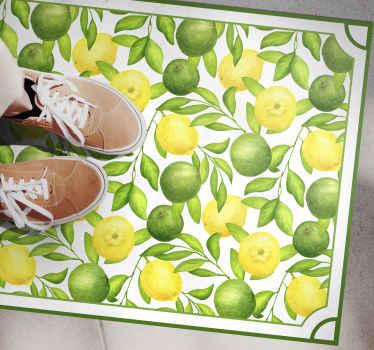Alfombra vinilo cocina está hecha para parecerse a una pintura de acuarela de limas y limones sobre un fondo blanco ¡Elige tus medidas!