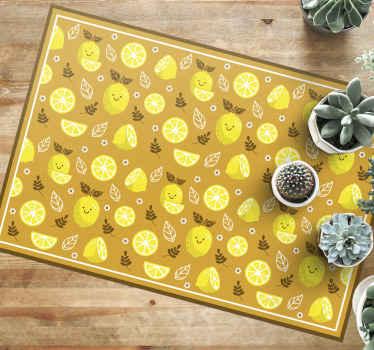 Esta alfombra vinilo cocina está llena de limones sonrientes algunos enteros y otros cortados en color amarillo sobre un fondo amarillo más oscuro.