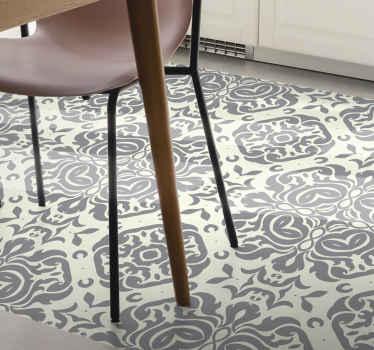 Esta alfombra vinilo hidráulica se basa en un fondo blanco cremoso con formas de mandalas grises por todas partes ¡Elige las medidas!