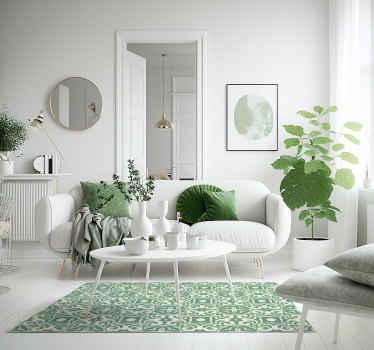 Alfombra vinilo hidráulica con efecto azulejo se basa en un fondo blanco cremoso con formas de mandala en verde claro por todas partes ¡Envío exprés!