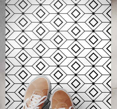 This tile effect vinyl rug is based on a white background with small black outlines of squares in different shapes. Available in many sizes!