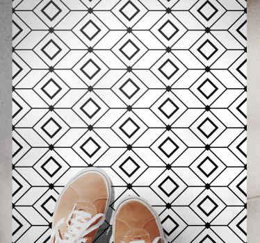 Esta alfombra vinilo hidráulica se basa en un fondo blanco con pequeños contornos negros de cuadrados de diferentes formas ¡Envío exprés!