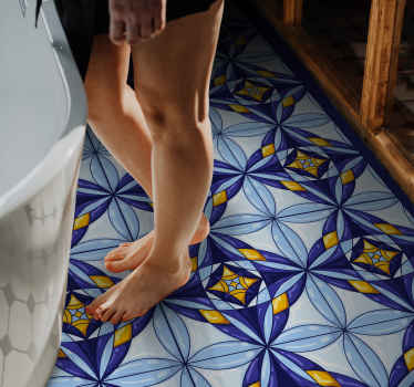 Portuguese blue and yellow mandala vinyl rug to completely change any room in  a house. It is slip-proof, easy to clean and durable.